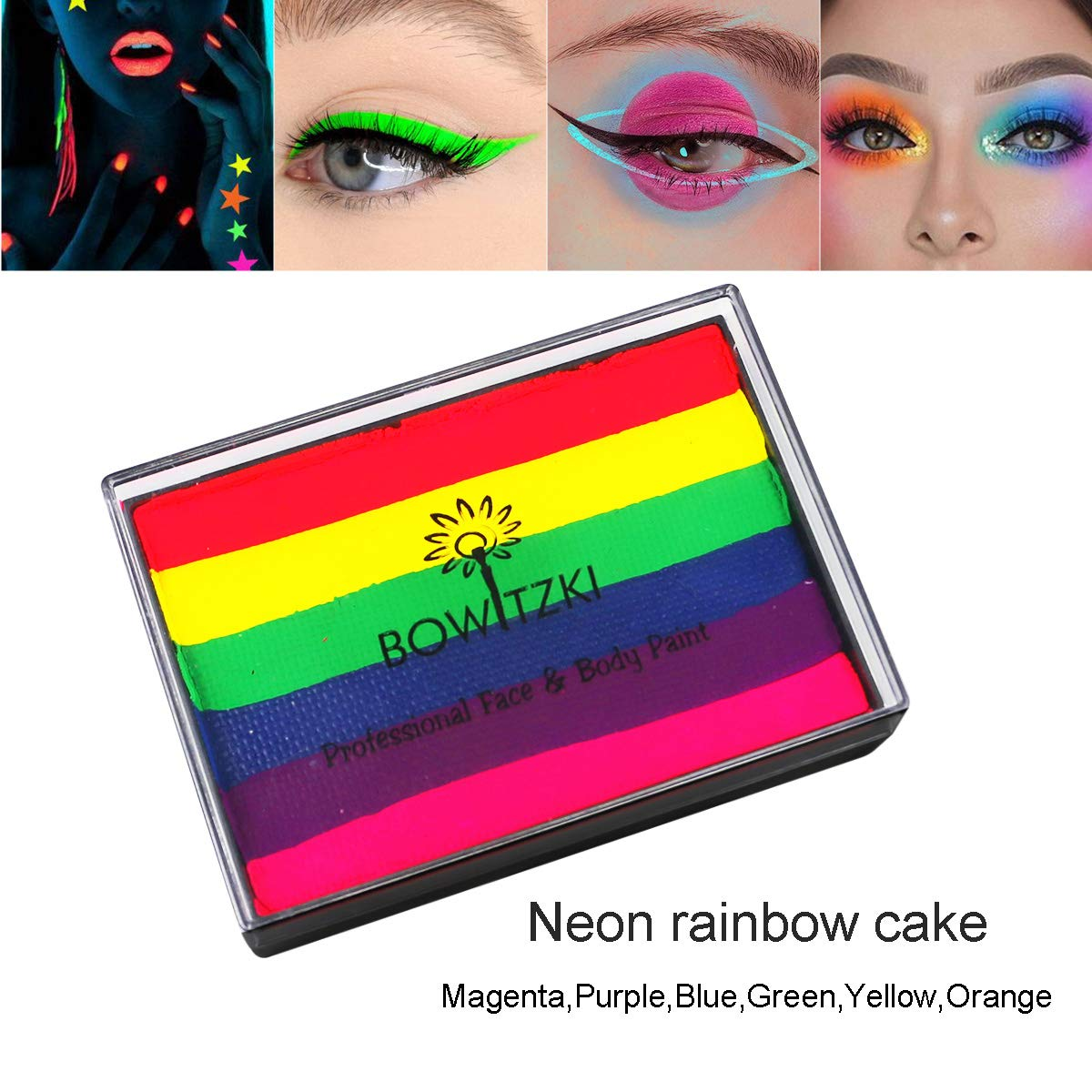 Bowitzki - Bowitzki UV Glow Split Cakes Neon Rainbow Water actived Face Paints Body Painting Makeup 50g