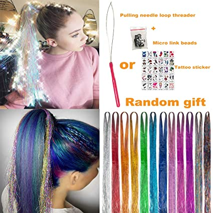 """UPTO - UPTO 46""""Hair Tinsel with Tools 12 Colors 2000 Strands Hair Tinsel Kit Hair Dazzle Glitter Extensions Sparkling Shiny Hair Flairs Extensions Silk Fairy Hair Tinsel Strands Kit Hair (46 inch, 12 colors)"""