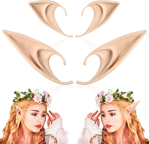 FRESHME - FRESHME Pairs Medium and Long Style Cosplay Pixie Elf Soft Pointed Tips Anime Party Dress Up Costume Masquerade Accessories Halloween Elven Vampire Fairy Ears (2, Beige