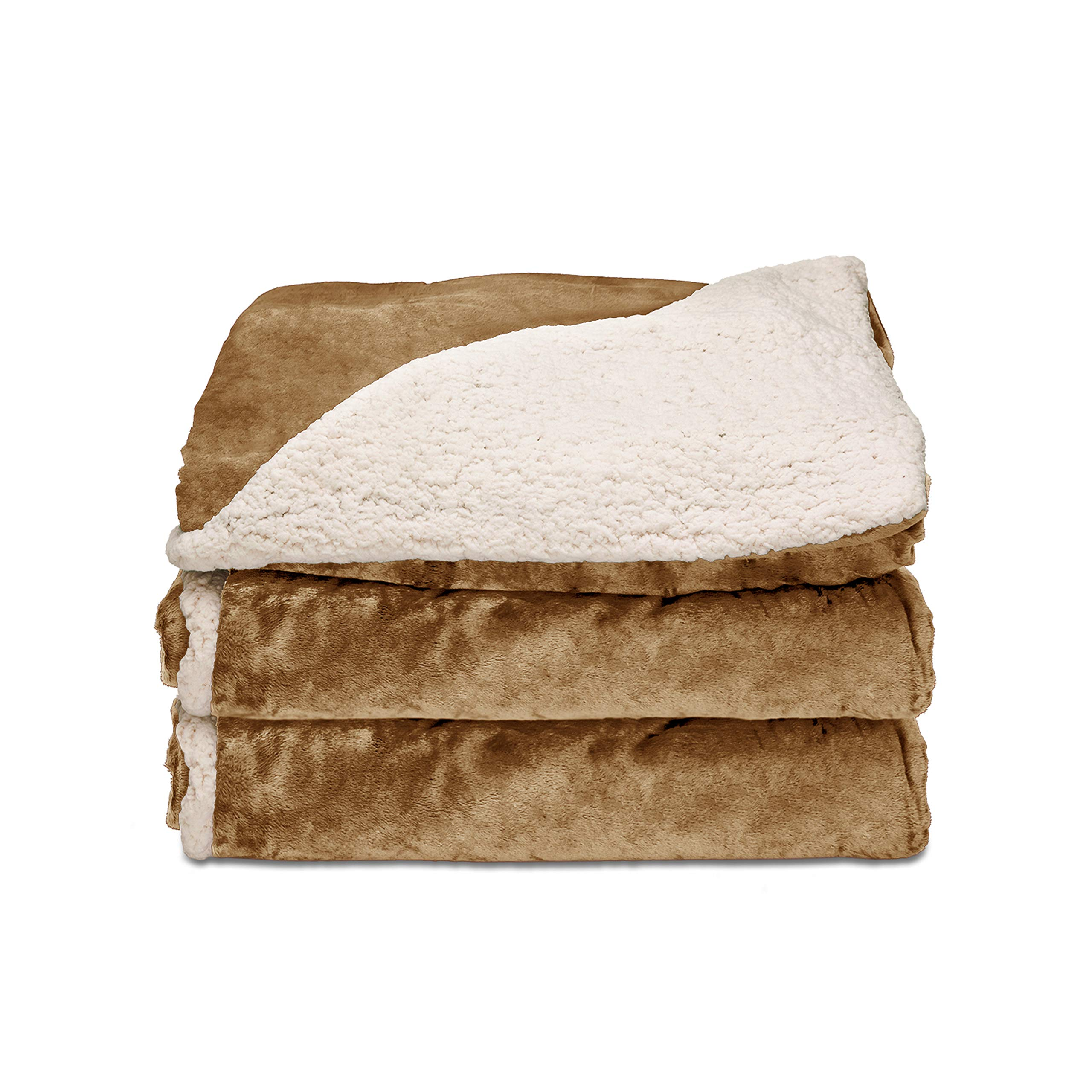 Sunbeam - Sunbeam Heated Throw Blanket | Reversible Sherpa/Royal Mink, 3 Heat Settings, Honey