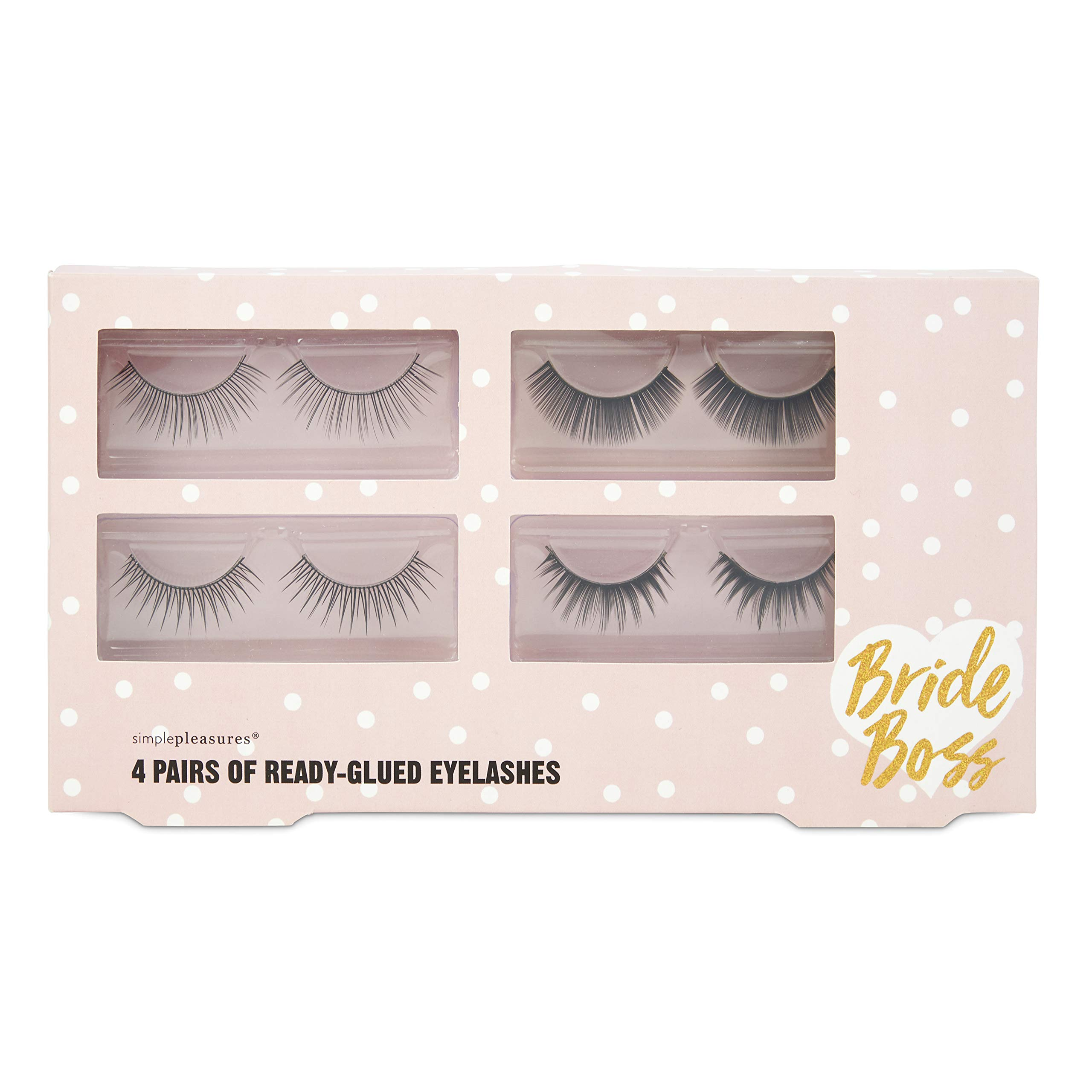 """Charming Charlie - Charming Charlie 4 Pairs Of Ready Glued Eyelashes – 4 Assorted Styles Of False Cosmetic """"Bride Boss"""" Lash Extensions"""