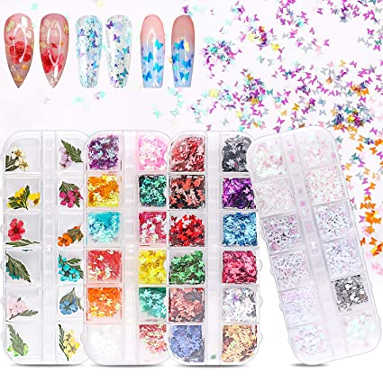 Tufusiur - 3D Butterfly Nail Art Holographic Glitter and Nail Dried Flowers 48 Colors Set, Tufusiur Nail Sequins Supplies Face Body Flakes Gifts for Decorations Accessories& DIY Crafting