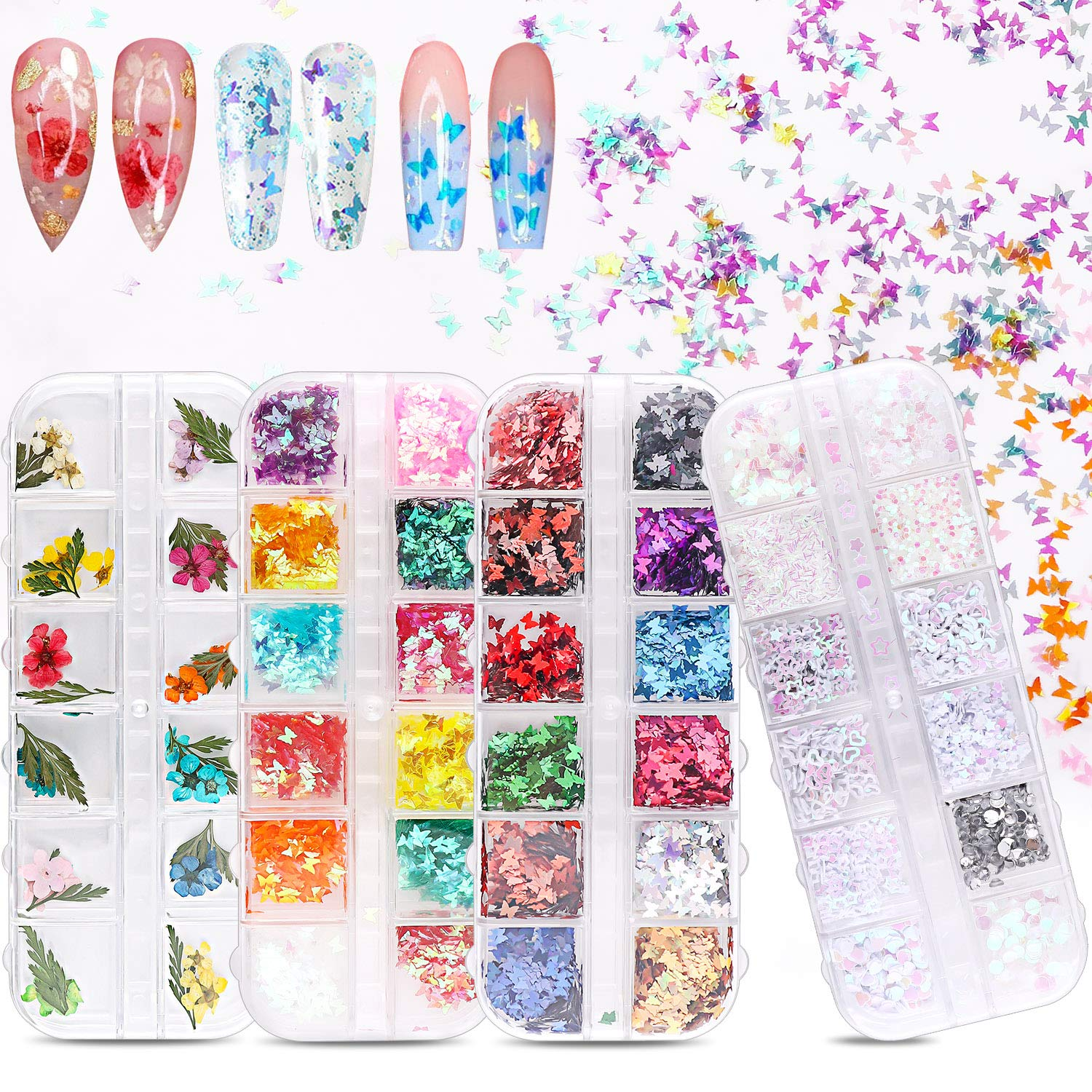 amazon.com - 3D Butterfly Nail Art Holographic Glitter and Nail Dried Flowers 48 Colors Set, Tufusiur Nail Sequins Supplies Face Body Flakes Gifts for Decorations Accessories& DIY Crafting
