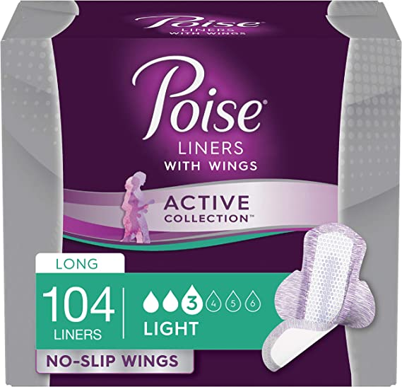 Kimberly-Clark Corp. - Poise Active Collection Incontinence Liners with Wings, Long, Light Absorbency, 104 Count (4 Packs of 26) (Packaging May Vary)