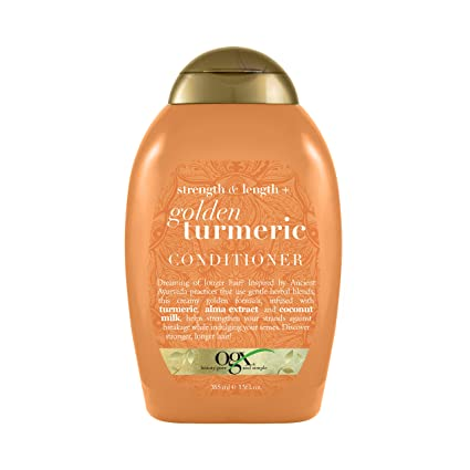 AmazonUs/VOGAL - OGX Strength & Length + Golden Turmeric Conditioner with Coconut Milk to Soothe Scalp & Nourish Hair, Ayurveda Sulfate-Free Surfactants for Stronger & Longer Hair, 13 fl. oz