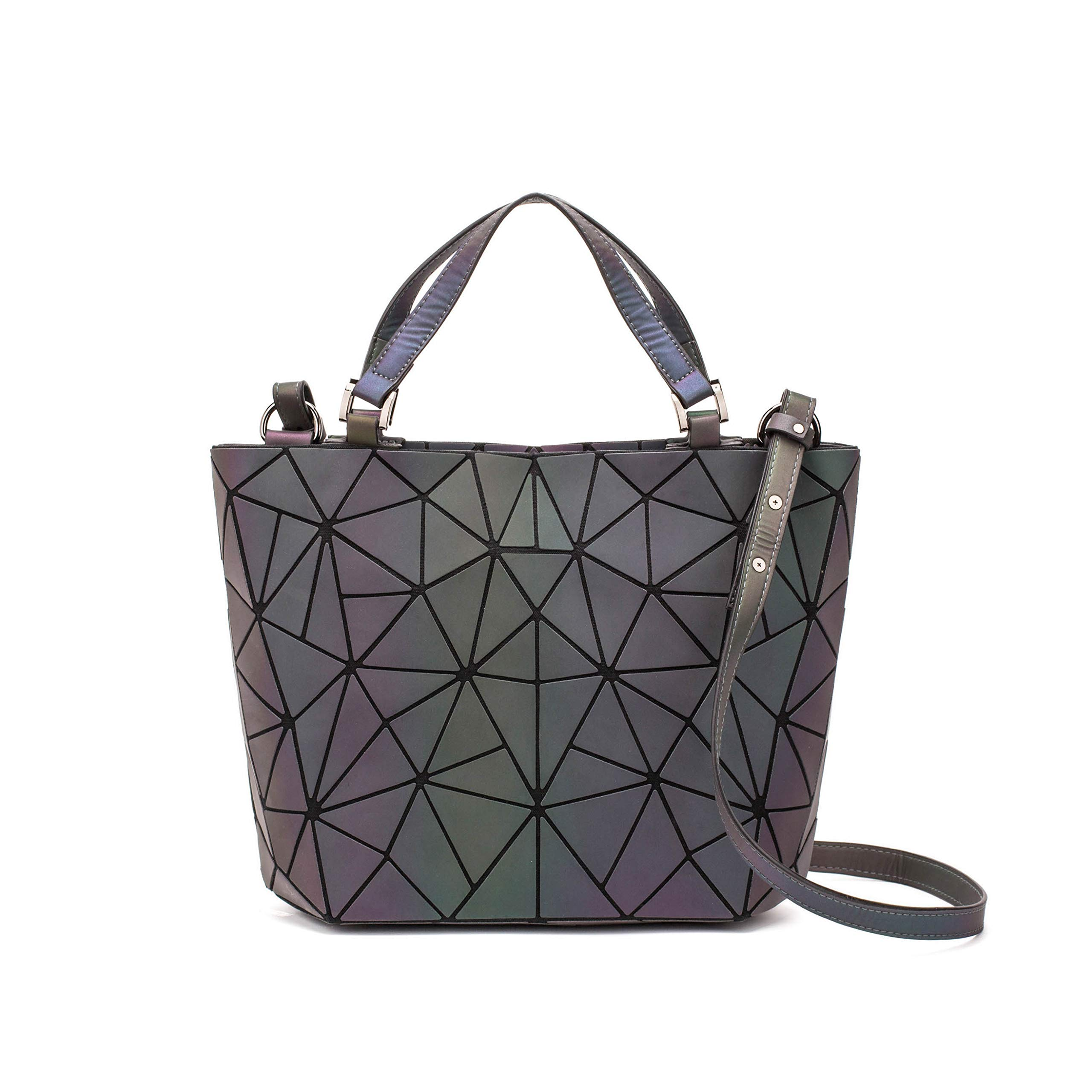 amazon.com - Geometric Backpack Fashion Backpacks Shard Lattice Luminous Bag Holographic Reflective Travel Rucksack NO.4