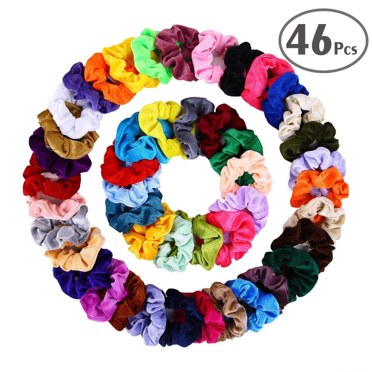 amazon.com - Hair Scrunchies Velvet Elastic Hair Bands Scrunchy Hair Ties Ropes Scrunchie for Women or Girls Hair Accessories - 46 Assorted Colors Scrunchies