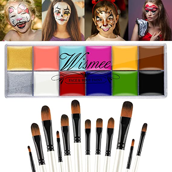 Wismee Wismee Professional Face Body Paint Makeup Palette 12 Colors Christmas Halloween Face Paint Kit Body Art Party Fancy Make Up with 12 Brushes Cosplay Makeup Set (Bright Colors)