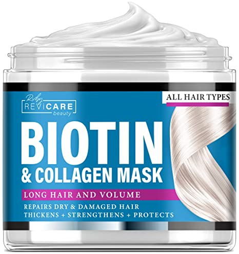 RVBY REVICARE BEAUTY Biotin and Collagen Mask - Made in USA - Natural Hair Mask with Collagen & Biotin for Dry Damaged Hair and Growth - Biotin & Collagen Deep Conditioning Hair Mask - Dry Hair Treatment Mask 8 oz