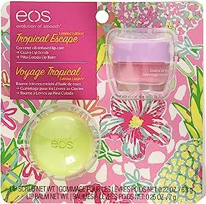Eos - eos Tropical Escape 2 Piece Lip Care Set | Guava Lip Scrub and Pina Colada Lip Balm | Exfoliates and Hydrates