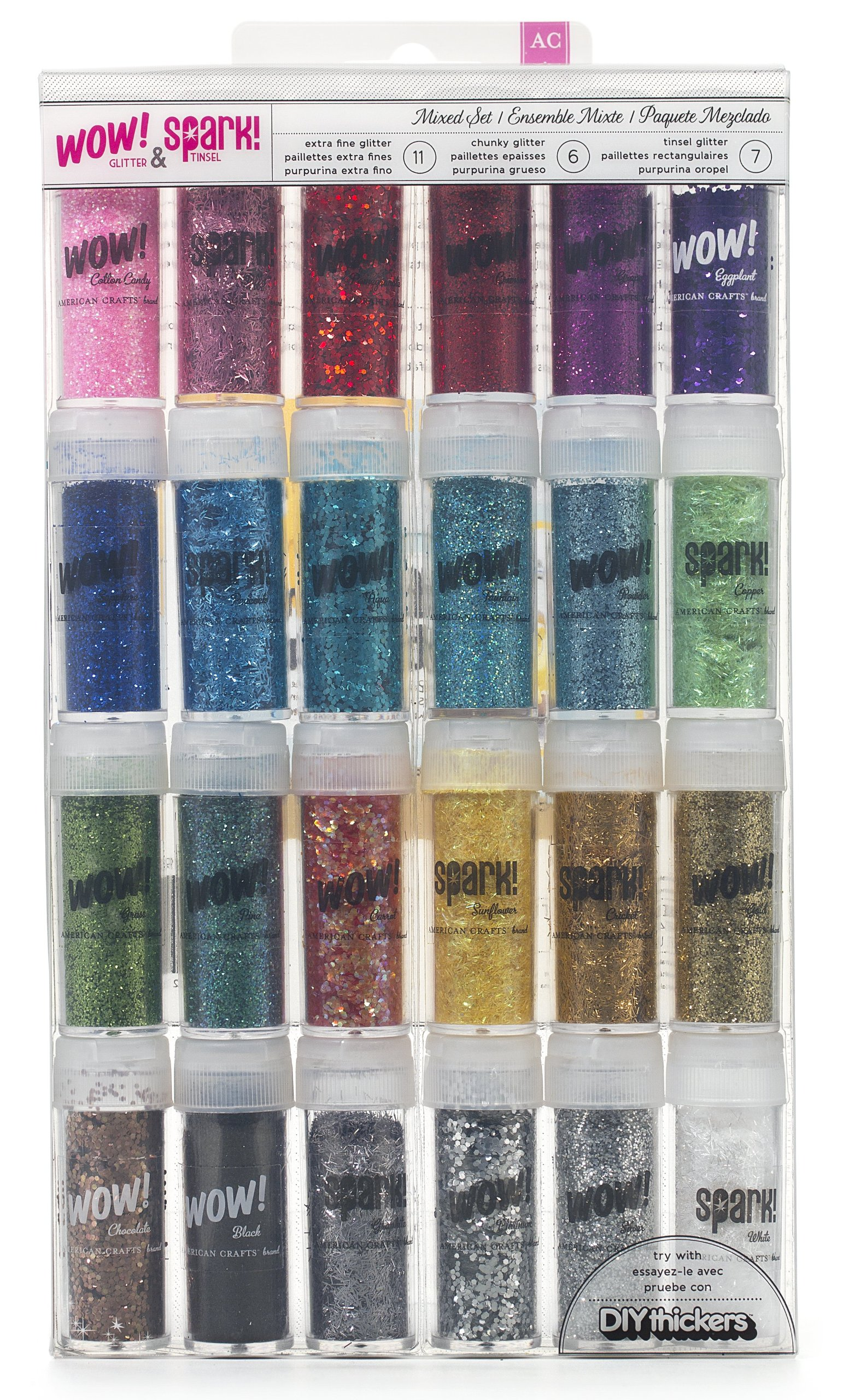 amazon.com - Wow! & Spark! Mixed Glitter Pack by American Crafts | 24-pack | Includes 11 bottles extra fine glitter, 6 bottles chunky glitter and 7 bottles tinsel glitter in various colors