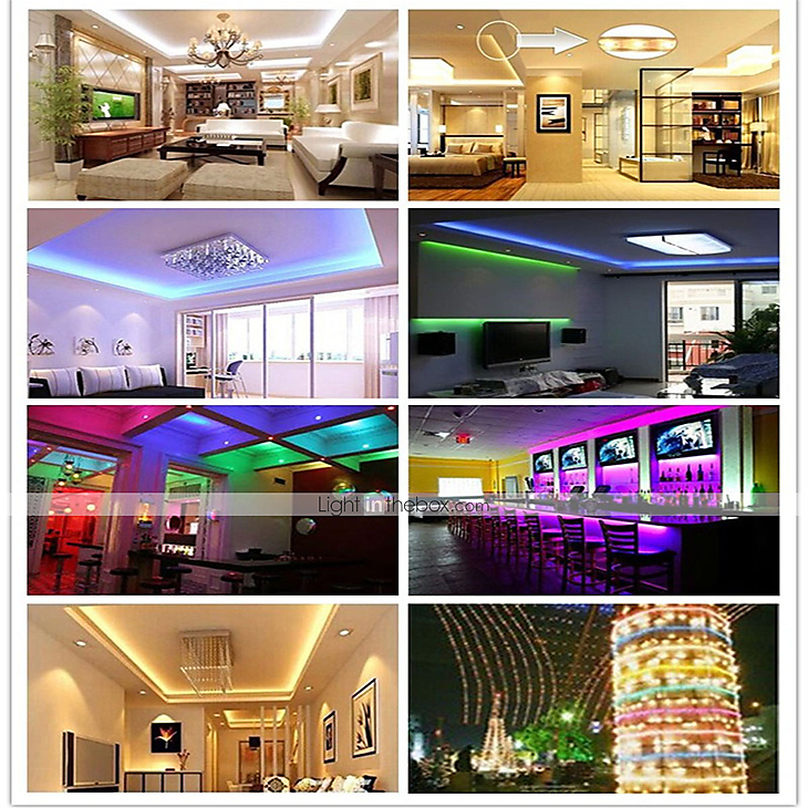 m.lightinthebox.com - LED Strip Light (2*5M)10M/32.8ft 3528 RGB 600leds 8mm Strips Lighting Flexible Color Changing with 44 Key IR Remote Ideal for Home Kitchen Christmas TV Back Lights DC 12V 2020 - US $15