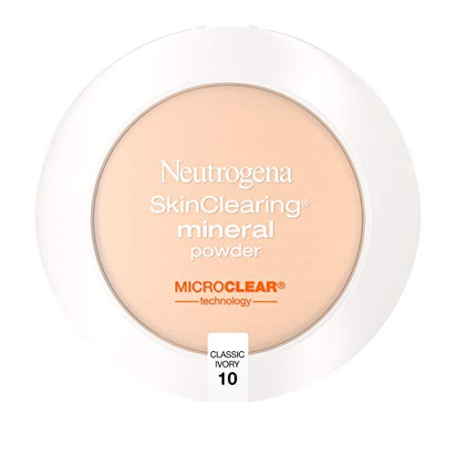 Neutrogena - Neutrogena SkinClearing Mineral Acne-Concealing Pressed Powder Compact, Shine-Free & Oil-Absorbing Makeup with Salicylic Acid to Cover, Treat & Prevent Breakouts, Classic Ivory 10,.38 oz