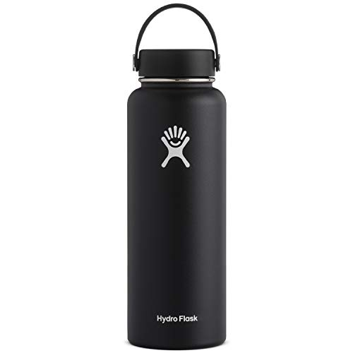 Hydro Flask - Hydro Flask 40 oz Double Wall Vacuum Insulated Stainless Steel Leak Proof Sports Water Bottle, Wide Mouth with BPA Free Flex Cap, Black