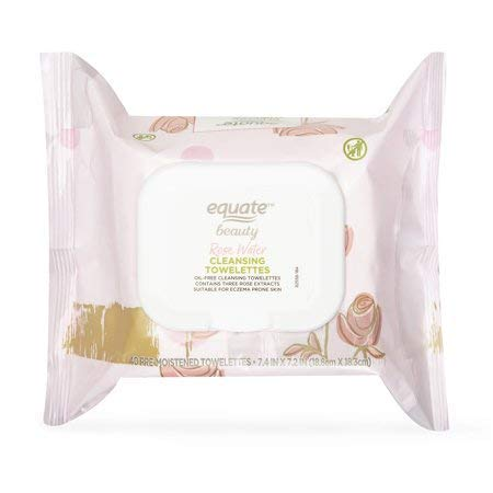 Equate Beauty - Equate Beauty Rose Water Cleansing Towelettes, 40 Pre-moistened Wipes (Pack of 2)