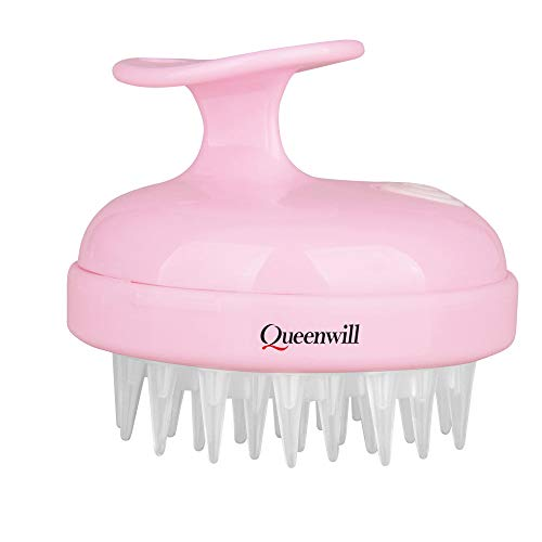 Queenwill - H01 Electric Handheld Hair Massager, 2 Mode Soft Vibration Comb Scalp Massager for Deep Hair Clean and Head Muscle Relax, Battery Powered - Pink