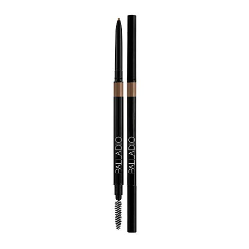 Palladio - Palladio Beauty Brow Definer Pencil, Taupe, Ultra Precise Twist-Up Eye Brow Pencil with Long-Staying Power, Spooley Brush Blends Color for Natural Finish, No Eyebrow Pencil Sharpener Required