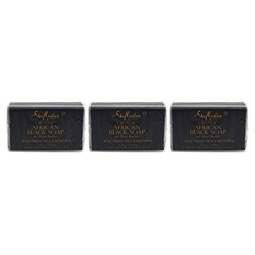 Sheamoisture - Shea Moisture Soap 3.5 Ounce Bar African Black (Organic) (103ml) (3 Pack)