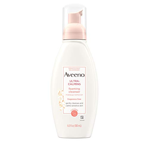 Aveeno - Aveeno Ultra-Calming Foaming Cleanser & Makeup Remover Facial Cleanser with Calming Feverfew, Face Wash for Dry & Sensitive Skin, Hypoallergenic, Fragrance-Free & Non-Comedogenic, 6 fl. oz