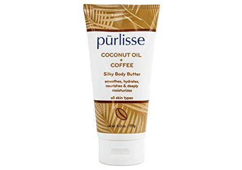 Purlisse - purlisse Coconut Oil + Coffee Silky Body Butter - Natural Moisturizer Cream for All Skin Types - Applying Treatment Deeply Hydrates, Nourishes & Moisturizes Skin, 6 Oz