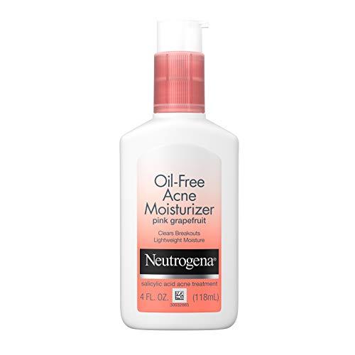 Neutrogena - Neutrogena Oil Free Acne Facial Moisturizer with.5% Salicylic Acid Acne Treatment, Pink Grapefruit Acne Fighting Face Lotion for Breakouts, Non-Greasy & Non-Comedogenic, 4 fl. oz