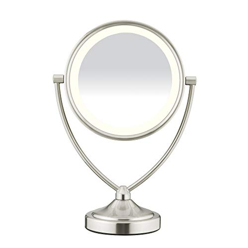 Conair - Conair Natural Daylight Double-Sided Lighted Makeup Mirror - Lighted Vanity Makeup Mirror; 1x/10x magnification; Satin Nickel Finish