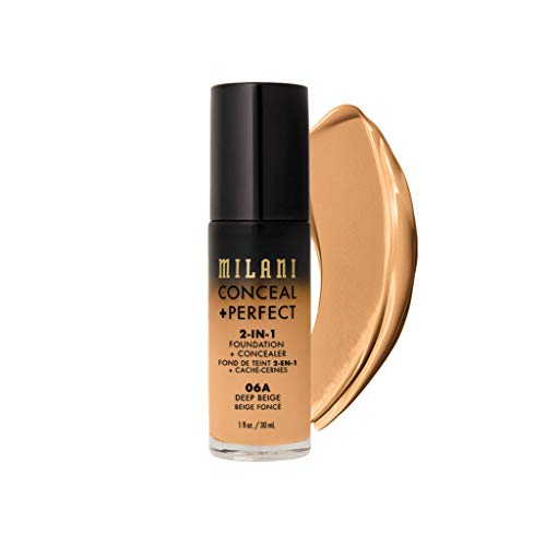 Milani - Milani Conceal + Perfect 2-in-1 Foundation + Concealer (1 Fl. Oz.) Cruelty-Free Liquid Foundation - Cover Under-Eye Circles, Blemishes & Skin Discoloration for a Flawless Complexion