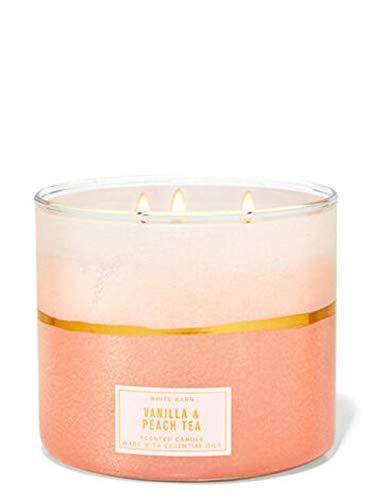 White Barn Bath Body Works Bath and Body Works White Barn Vanilla Peach Tea 3 Wick Candle 14.5 Ounce Pink Layered Label