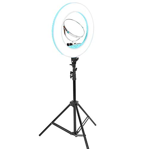 TMISHION - DIY Makeup Lamp Four-color 45W LED Ring Light with Adjustable Halo lightness, Tripod Stand for Live Stream and Makeup, SLR Cameras, Video Cameras(Green)