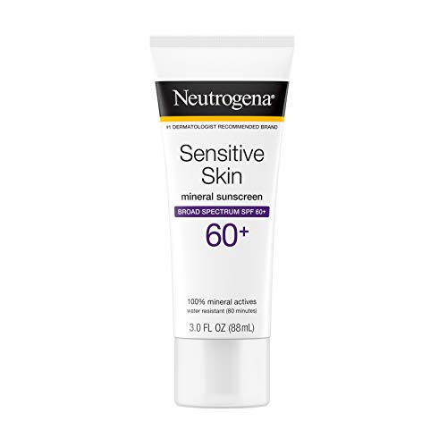 Neutrogena - Neutrogena Sensitive Skin Mineral Sunscreen Lotion with Broad Spectrum SPF 60+ & Zinc Oxide, Water-Resistant, Hypoallergenic, Fragrance- & Oil-Free Gentle Sunscreen Formula, 3 fl. oz