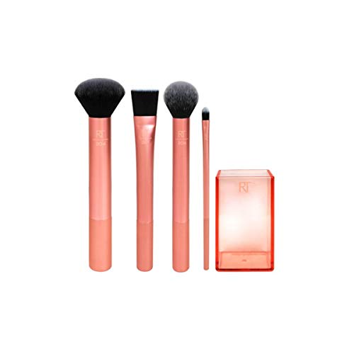Real Techniques - Real Techniques Cruelty Free Flawless Base Set, Synthetic Bristles Includes: Contour, Detailer, Buffing & Square Foundation Brushes