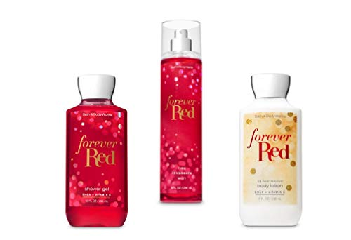 Bath & Body Works - Bath and Body Works Forever Red Shower Gel, Body Lotion, Fine Fragrance Mist Daily Trio Gift Set 2018