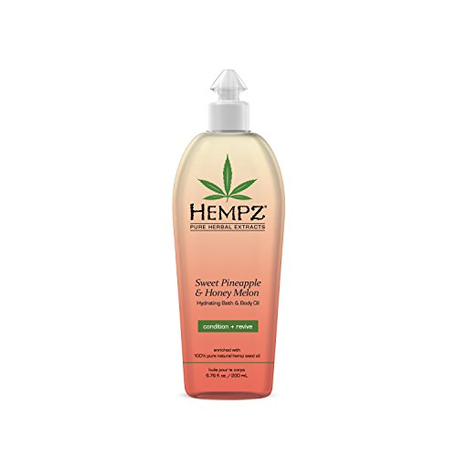 Hempz - Hempz Hydrating Bath and Body Oil for Women, Sweet Pineapple & Honey Melon, 6.75 fl. oz. - Conditioning Body Moisturizer with Natural Hemp Seed Oil, Vitamins A & E for Dry Skin - Premium Body Oils