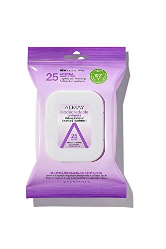 Longwear - Biodegradable Longwear Makeup Remover Cleansing Towelettes Almay, 25 Wipes (Pack of 2)