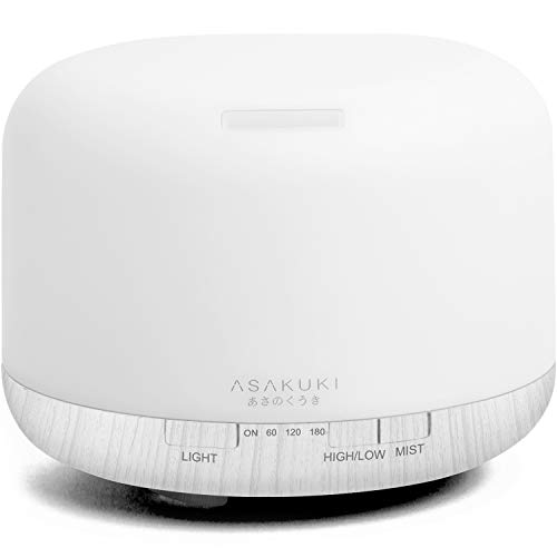 Asakuki - ASAKUKI 500ml Premium, Essential Oil Diffuser, 5 in 1 Ultrasonic Aromatherapy Fragrant Oil Vaporizer Humidifier, Timer and Auto-Off Safety Switch, 7 LED Light Colors