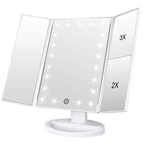 WEILY - Lighted Makeup Mirror, Tri-fold Vanity Mirror with 3X/2X/1X Magnification,21 Natural LED Nights and Touch Screen, Batteries and USB Power Supply Adjustable Tabletop Cosmetic Mirror (White)