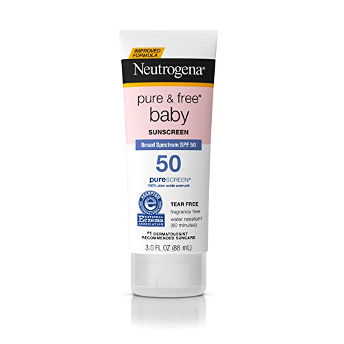 Neutrogena - Neutrogena Pure & Free Baby Mineral Sunscreen Lotion with Broad Spectrum SPF 50 & Zinc Oxide, Water-Resistant, Hypoallergenic & Tear-Free Baby Sunscreen, 3 fl. Oz (Pack of 3)