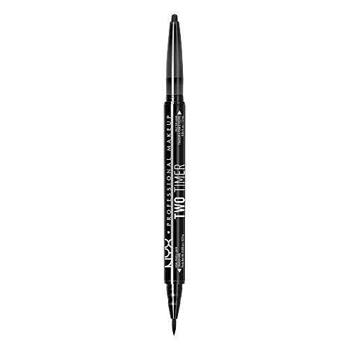 NYX - NYX PROFESSIONAL MAKEUP Two Timer Dual Ended Eyeliner, Jet Black, 0.04 Ounce