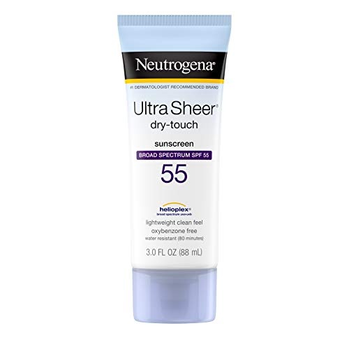 Neutrogena - Neutrogena Ultra Sheer Dry-Touch Sunscreen Lotion, Broad Spectrum SPF 55 UVA/UVB Protection, Oxybenzone-Free, Light, Water Resistant, Non-Comedogenic & Non-Greasy, Travel Size, 3 fl. oz