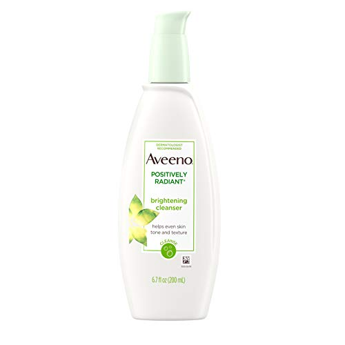 Aveeno - Aveeno Positively Radiant Brightening Facial Cleanser for Sensitive Skin, Non-Comedogenic, Oil-Free, Soap-Free & Hypoallergenic, 6.7 fl. oz (Pack of 6)