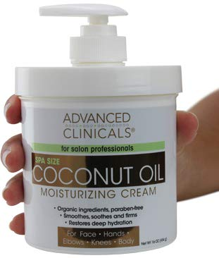 Advanced Clinicals - Advanced Clinicals Coconut Oil Cream. Spa size 16oz Moisturizing Cream. Coconut Oil for Face, Hands, Hair.