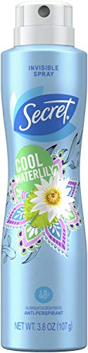 Secret - Secret Invisible Antiperspirant and Deodorant Spray Cool Waterlily, 3.8 oz (Pack of 2)