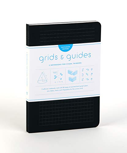 "Princeton Architectural Press - Grids & Guides Softcover (Black): Two Notebooks for Visual Thinkers (classic black notebooks, 5.75 x 8.25"", with grid paper in eight patterns, ideal for designers, architects, and creatives)"