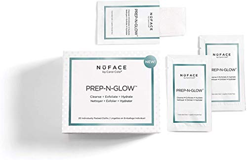 Nuface - NuFACE Prep-N-Glow Cloths | Cleansing, Exfoliating, and Hydrating Wipes |  Enriched with Hyaluronic Acid | Pack of 20