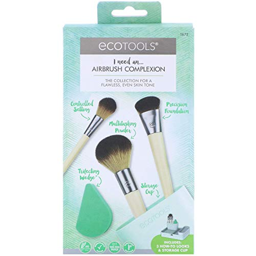 Ecotools - EcoTools Airbrush Complexion Kit, Includes 1 Makeup Wedge, 4 Brushes, 3 Beauty Look Cards, and Convenient Storage Cup, Full Face-Perfecting Makeup Brush Set