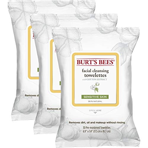 Burts Bees - Sensitive Facial Cleansing Towelettes with Cotton Extract for Sensitive Skin