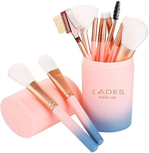 LADES - Makeup Brush Sets - 12 Pcs Makeup Brushes for Foundation Eyeshadow Eyebrow Eyeliner Blush Powder Concealer Contour