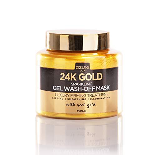Azure Cosmetics - 24K Gold Luxury Sparkling Gel Wash Off Firming Mask – Removes Blackheads, Dirt & Oils | Firms & Rejuvenates | Wrinkle, Fine Line & Acne Scar Reducing – 150ml
