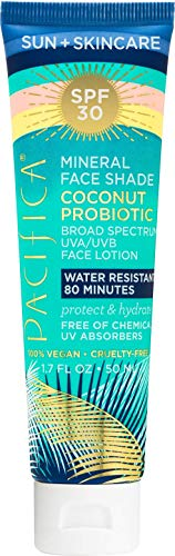Pacifica - Pacifica Face Sunscreen SPF 30 - Titanium Dioxide Mineral Face Shade with Coconut Probiotics to Protect, Soothe and Hydrate; Water Resistant; 100% Vegan; Cruelty-Free; 1.7 Ounces