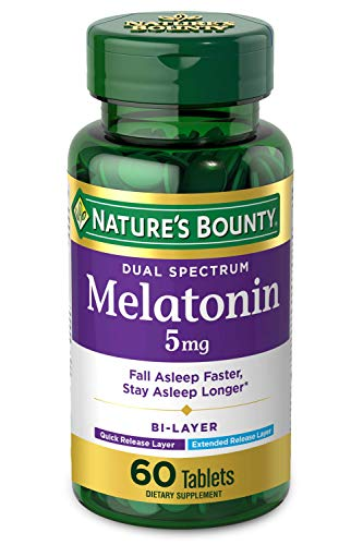 Nature'S Bounty Melatonin by Nature's Bounty, 100% Drug Free Quick Release and Extended Release Sleep Aid, Dietary Supplement, Promotes Relaxation and Sleep Health, 5mg, 60 Bi-Layer Tablets